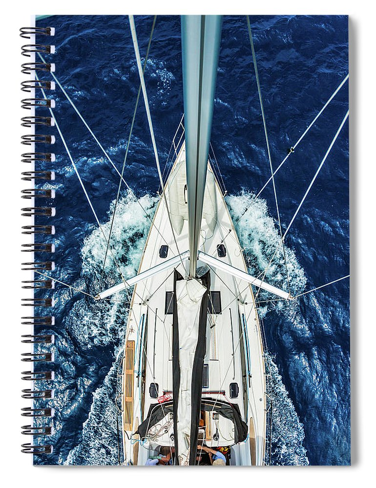 Adriatic Sea Spiral Notebook featuring the photograph Sailboat From Above by Mbbirdy