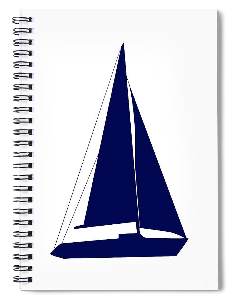 Graphic Art Spiral Notebook featuring the photograph Sailboat In Navy And White by Jackie Farnsworth