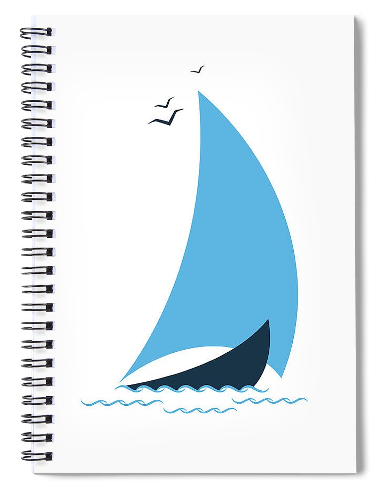 Curve Spiral Notebook featuring the digital art Sailboat In The Sea. Concept For The by Liubov Trapeznykova