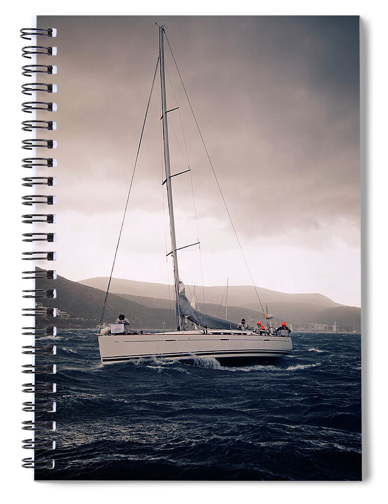 Recreational Pursuit Spiral Notebook featuring the photograph Sailing And Stormy Weather by Travenian