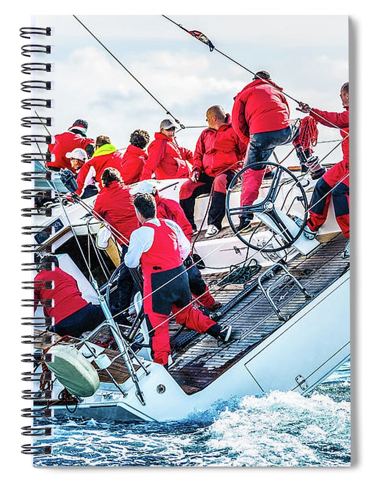 Adriatic Sea Spiral Notebook featuring the photograph Sailing Crew On Sailboat During Regatta by Mbbirdy