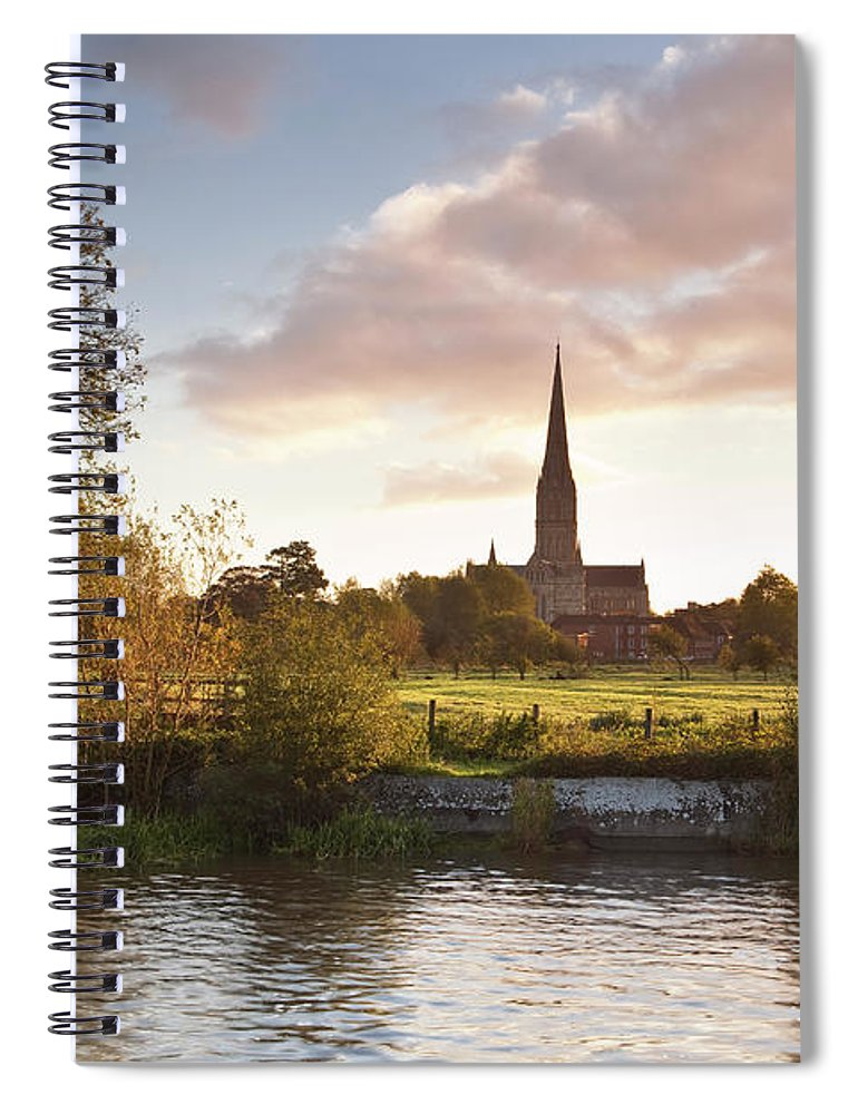 Tranquility Spiral Notebook featuring the photograph Salisbury Cathedral And The River Avon by Julian Elliott Photography