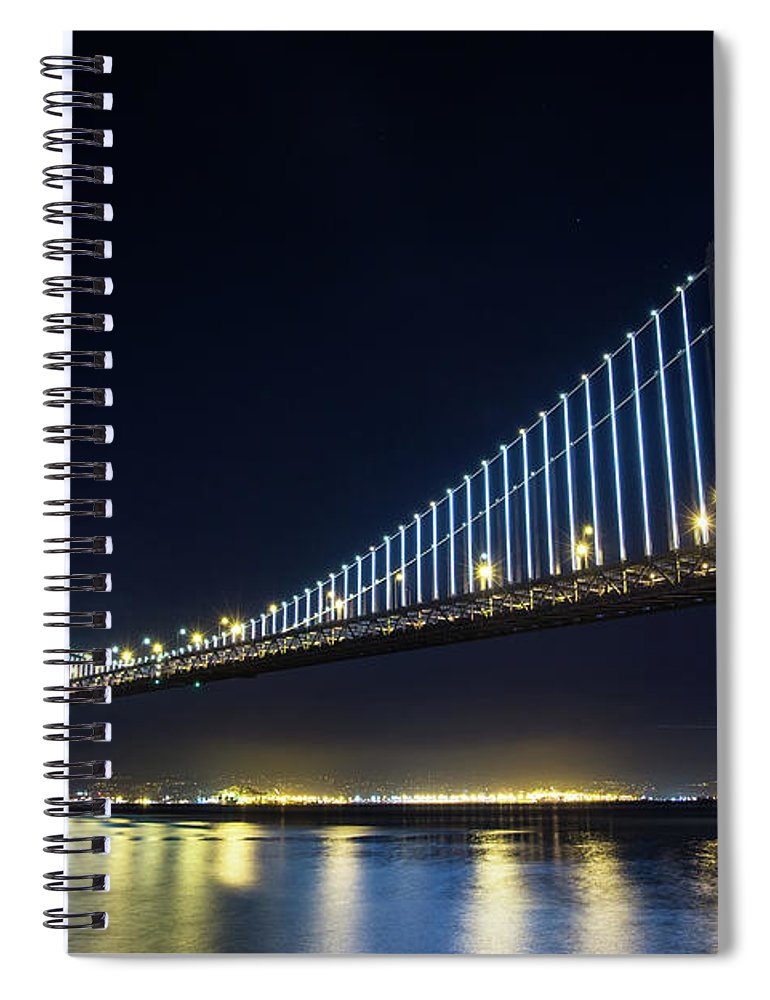 California Spiral Notebook featuring the photograph San Francisco Bay Bridge With Led Lights by Halbergman