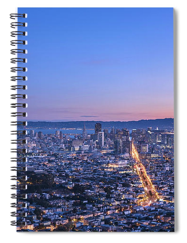 Scenics Spiral Notebook featuring the photograph San Francisco Cityscape In Sunrise by Chinaface