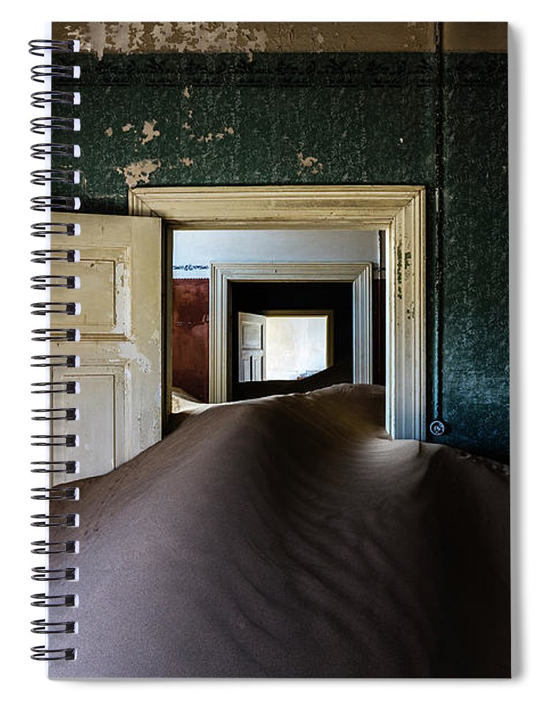 Sand Dune Spiral Notebook featuring the photograph Sand Dune In Door Frame Of Abandoned by Pixelchrome Inc