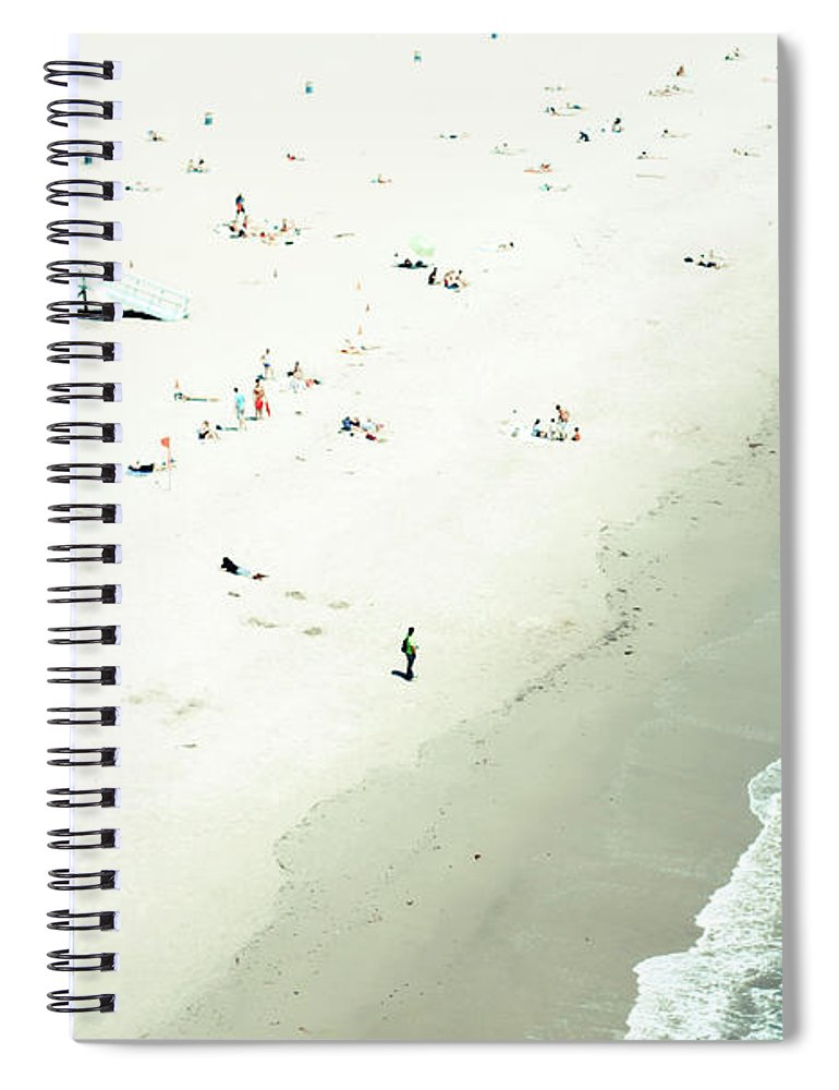 Water's Edge Spiral Notebook featuring the photograph Santa Monica Beach by Angela Auclair