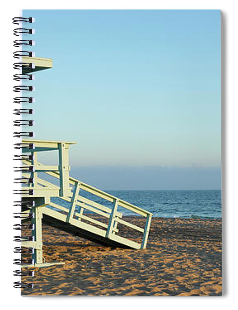 Water's Edge Spiral Notebook featuring the photograph Santa Monica Lifeguard Station by S. Greg Panosian