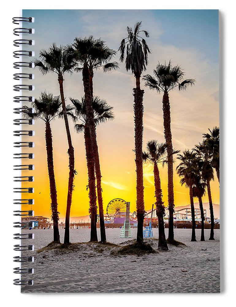 Los Angeles Spiral Notebook featuring the photograph Santa Monica Palms by Az Jackson