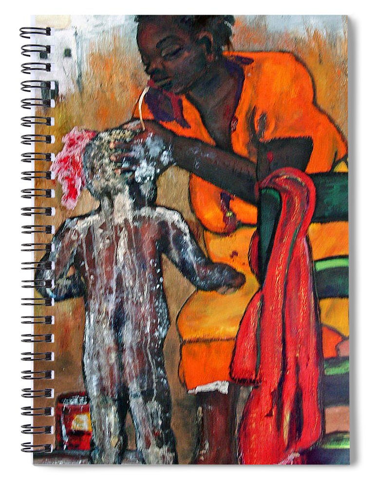 Mom Bathing Boy Spiral Notebook featuring the painting Saturday Night Bath by Peggy Blood