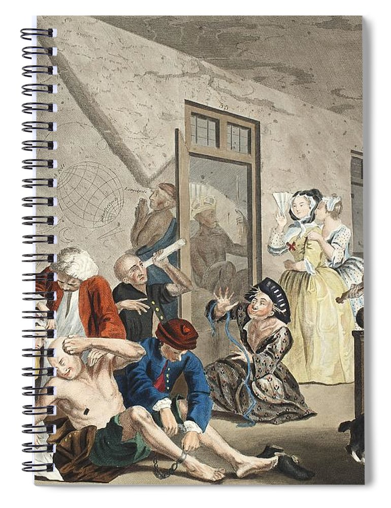 Interior Spiral Notebook featuring the drawing Scene In Bedlam, Plate Viii, From A by William Hogarth