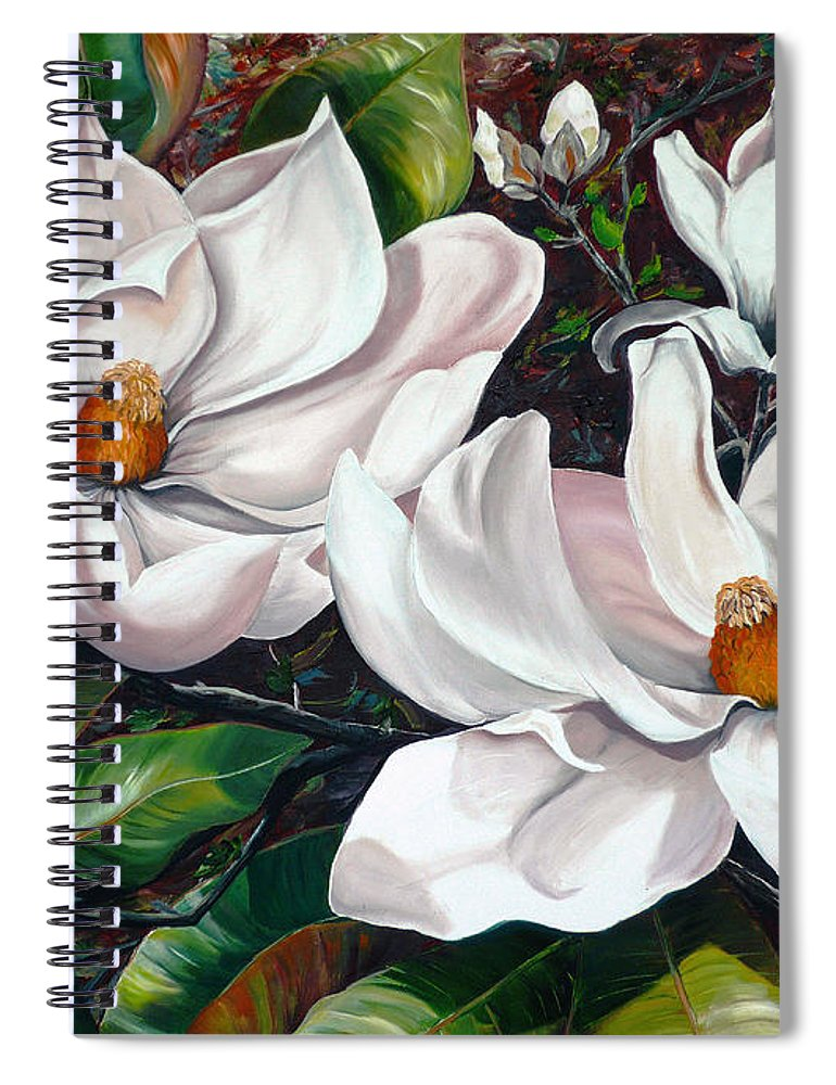 Magnolia Painting Flower Painting Botanical Painting Floral Painting Botanical Bloom Magnolia Flower White Flower Greeting Card Painting Spiral Notebook featuring the painting Scent Of The South. by Karin Dawn Kelshall- Best