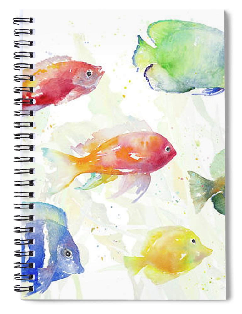 School Spiral Notebook featuring the painting School Of Tropical Fish by Lanie Loreth