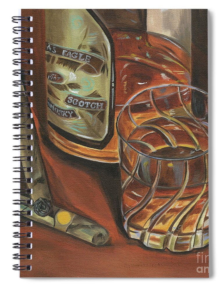 Scotch Spiral Notebook featuring the painting Scotch And Cigars 3 by Debbie DeWitt