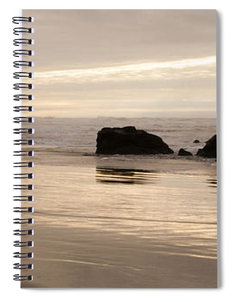 Sunset Spiral Notebook featuring the photograph Sea Stacks Panorama by Vivian Christopher
