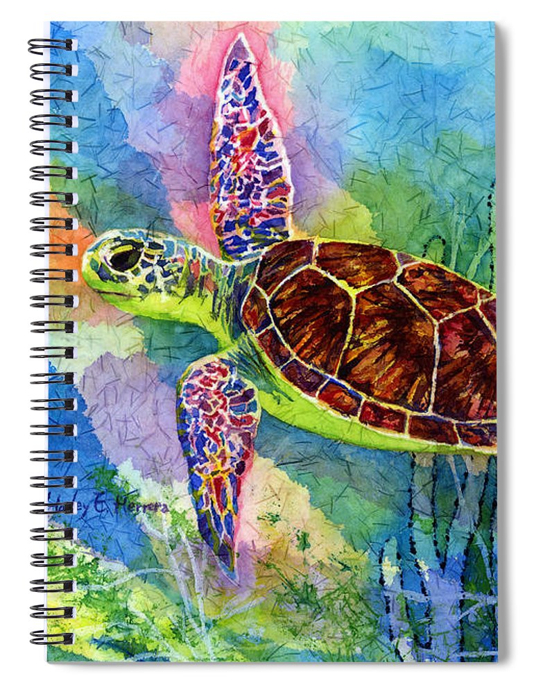 Turtle Spiral Notebook featuring the painting Sea Turtle by Hailey E Herrera