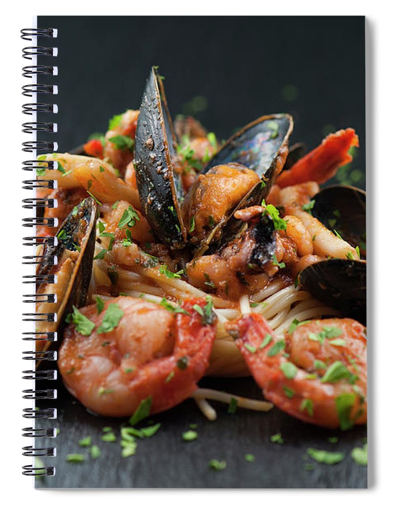 Prawn Spiral Notebook featuring the photograph Seafood Pasta by Cbording