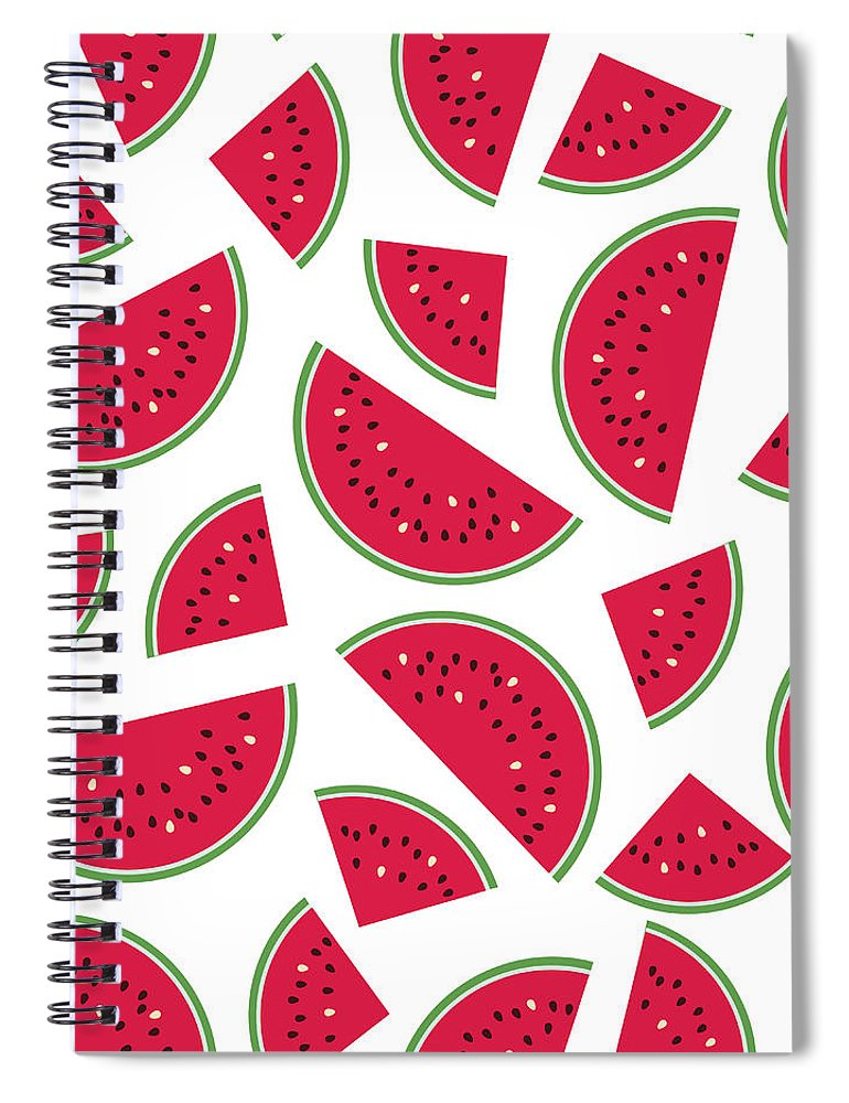 Art Spiral Notebook featuring the digital art Seamless Colorful Pattern With Red by Ekaterina Bedoeva