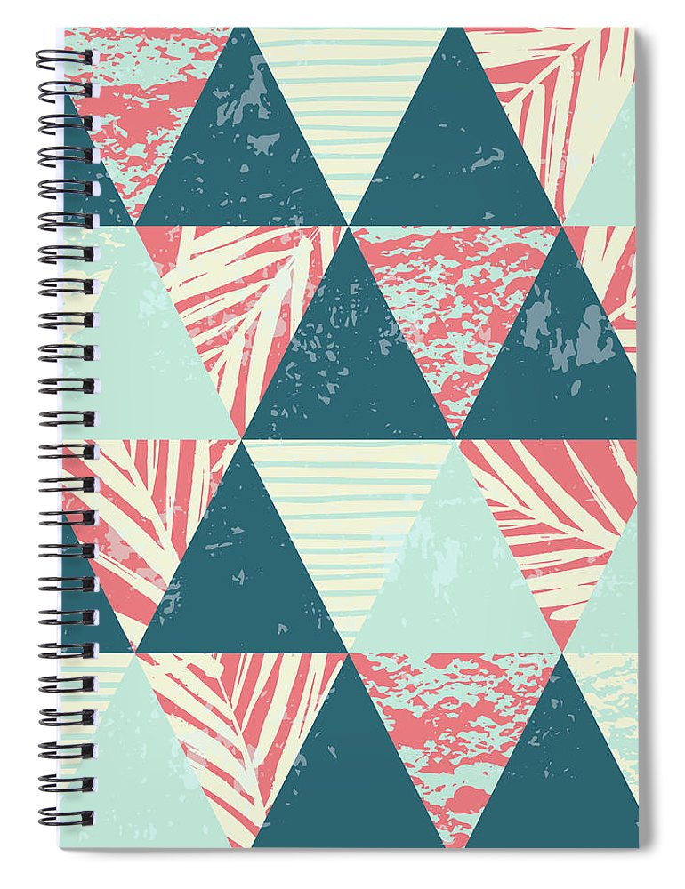 Tropical Rainforest Spiral Notebook featuring the digital art Seamless Exotic Pattern With Palm by Nadezda grapes