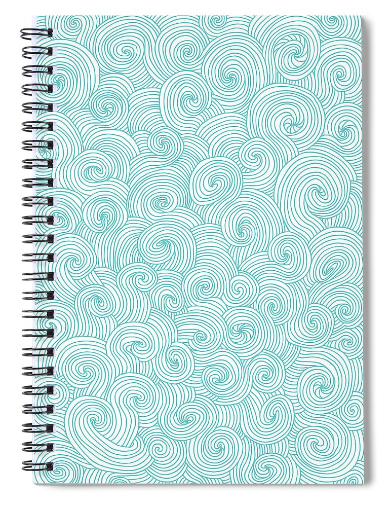 Curve Spiral Notebook featuring the digital art Seamless Pattern Of Doodle Swirls And by Beastfromeast
