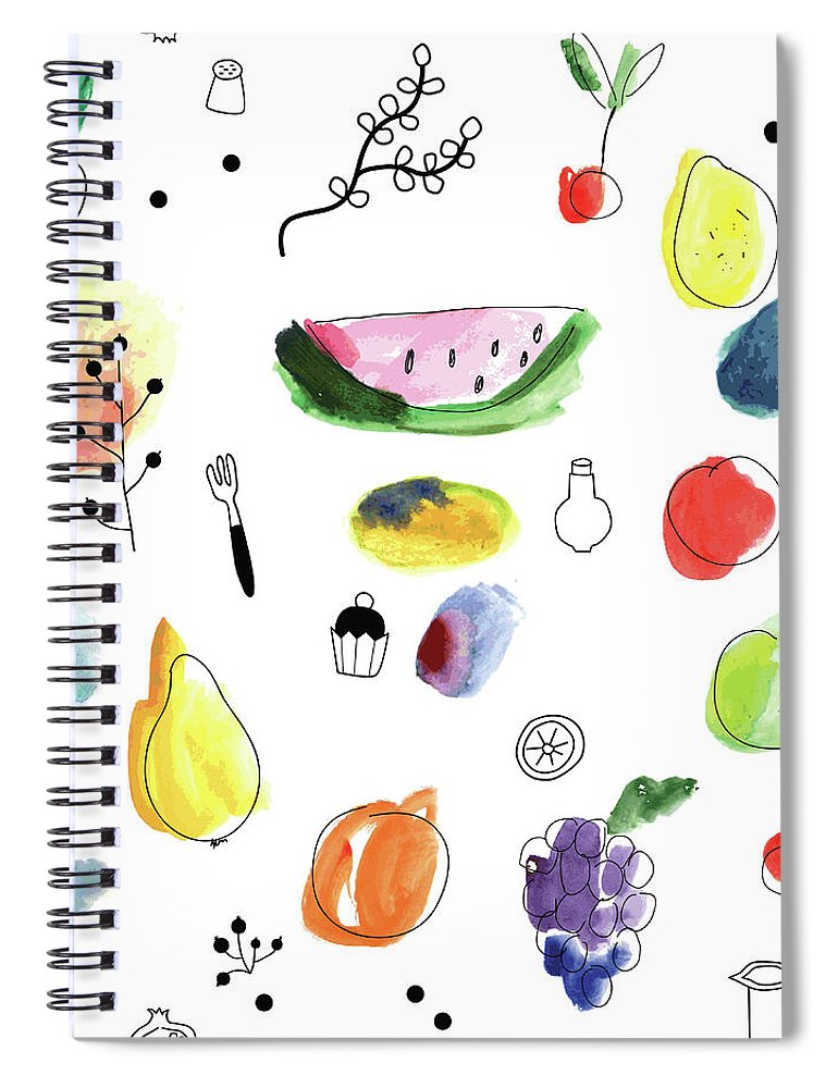 Cherry Spiral Notebook featuring the digital art Seamless Pattern With Fruits, Berries by Loliputa