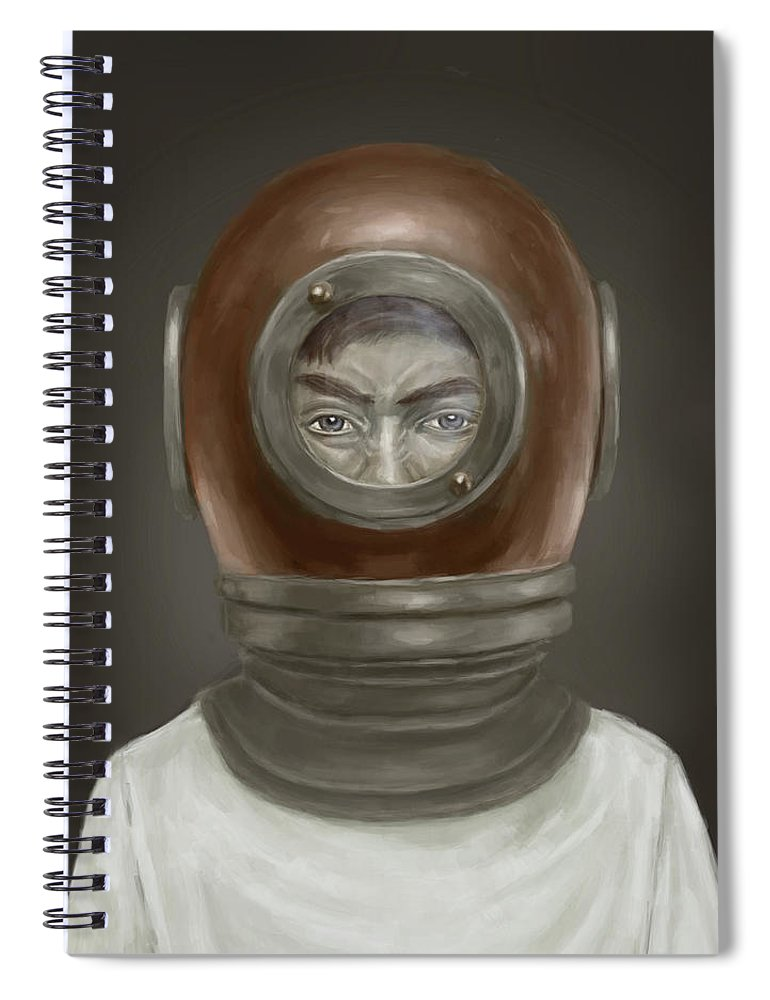 Digital Spiral Notebook featuring the digital art Self Portrait by Balazs Solti