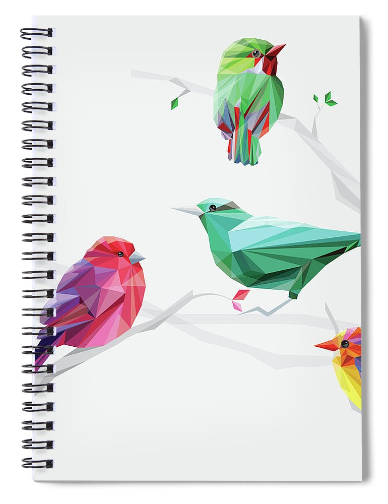 Funky Spiral Notebook featuring the digital art Set Of Abstract Geometric Colorful Birds by Pika111
