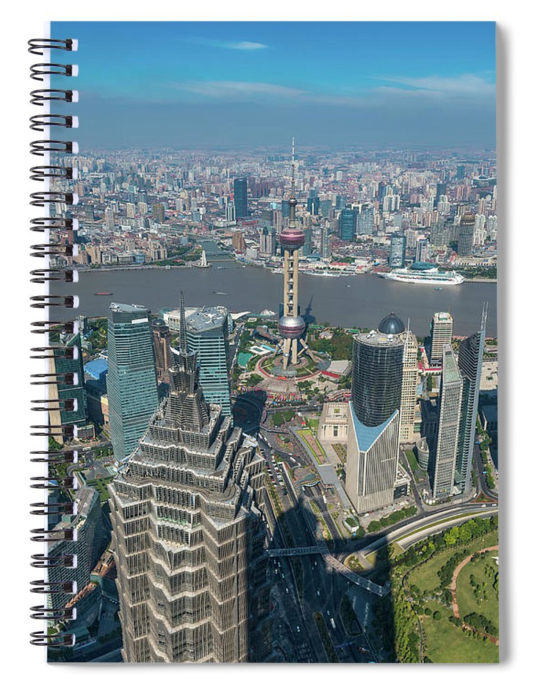 Chinese Culture Spiral Notebook featuring the photograph Shanghai Aerial View Over Pundong by Fotovoyager