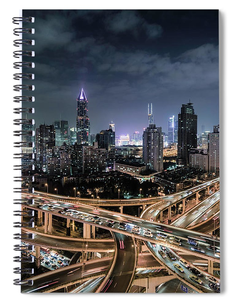 Built Structure Spiral Notebook featuring the photograph Shanghai, Busy Road Intersection At Dusk by Martin Puddy