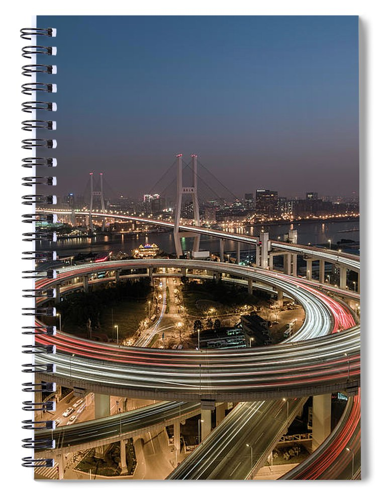 Built Structure Spiral Notebook featuring the photograph Shanghai, Elevated View Of Nanpu Bridge by Martin Puddy