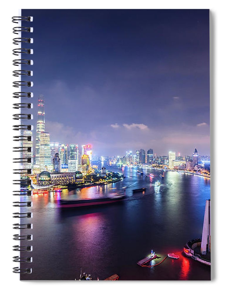 Downtown District Spiral Notebook featuring the photograph Shanghai Skyline At Night by Yongyuan Dai