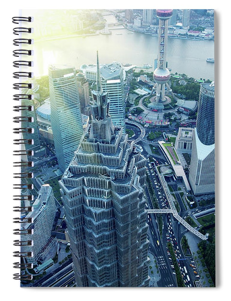 Chinese Culture Spiral Notebook featuring the photograph Shanghai Skyscraper by Hudiemm