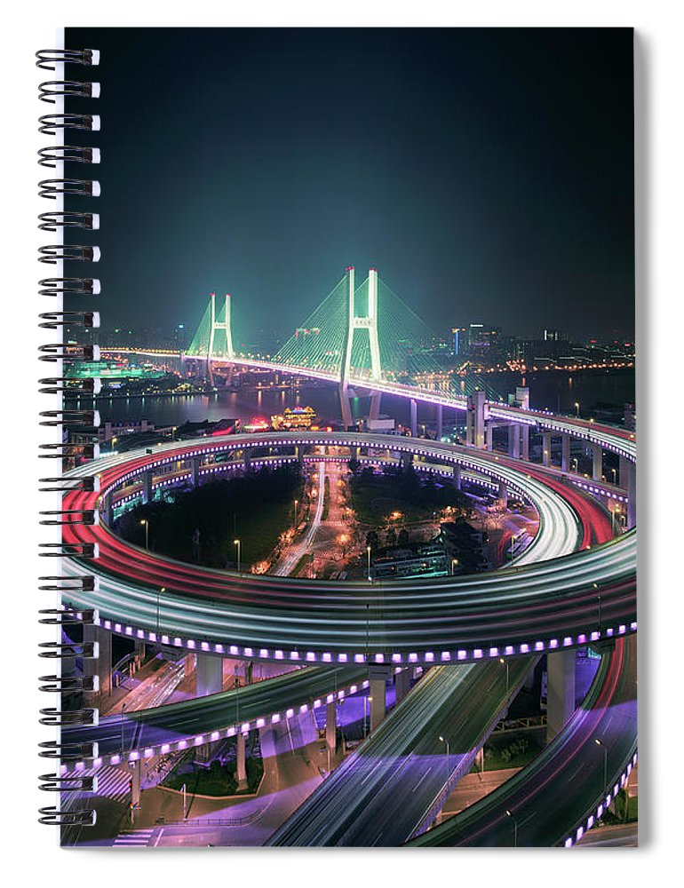 Built Structure Spiral Notebook featuring the photograph Shanghais Nanpu Bridge Illuminated At by Martin Puddy