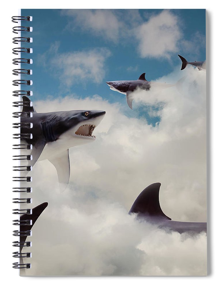 Risk Spiral Notebook featuring the photograph Sharks Floating In Clouds by John M Lund Photography Inc