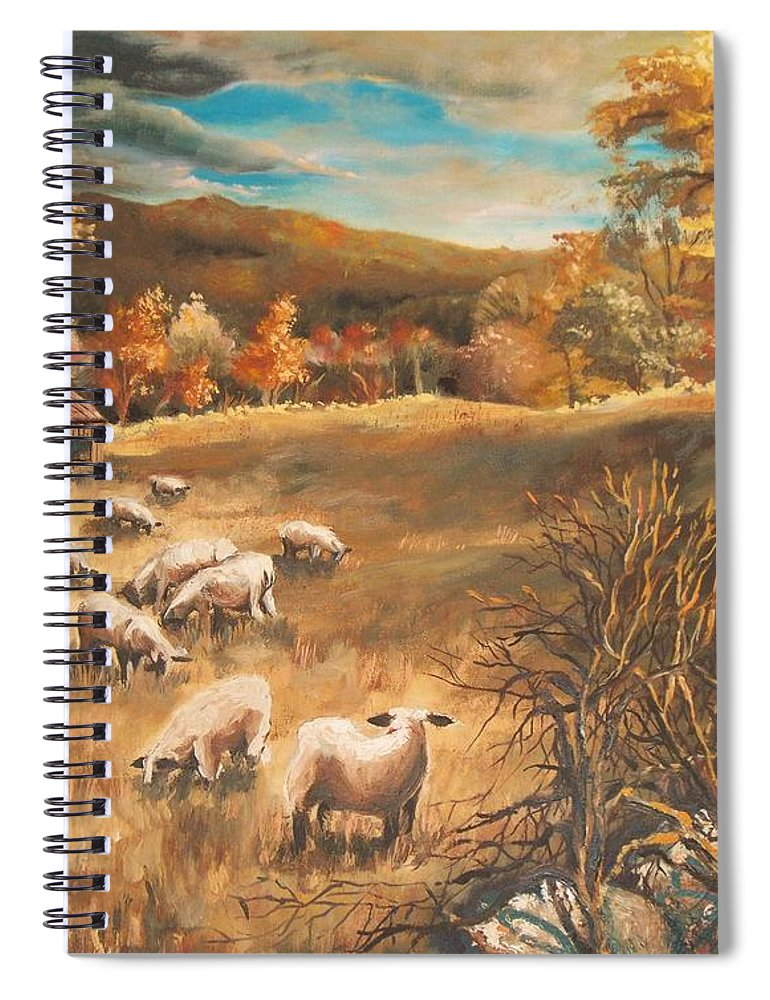 Oil Painting Spiral Notebook featuring the painting Sheep in October's field by Joy Nichols