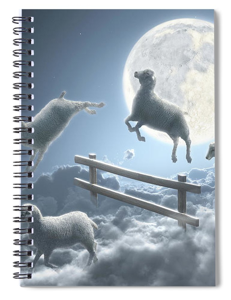 Animal Themes Spiral Notebook featuring the digital art Sheep Jumping Over Fence In A Cloudy by Dieter Spannknebel