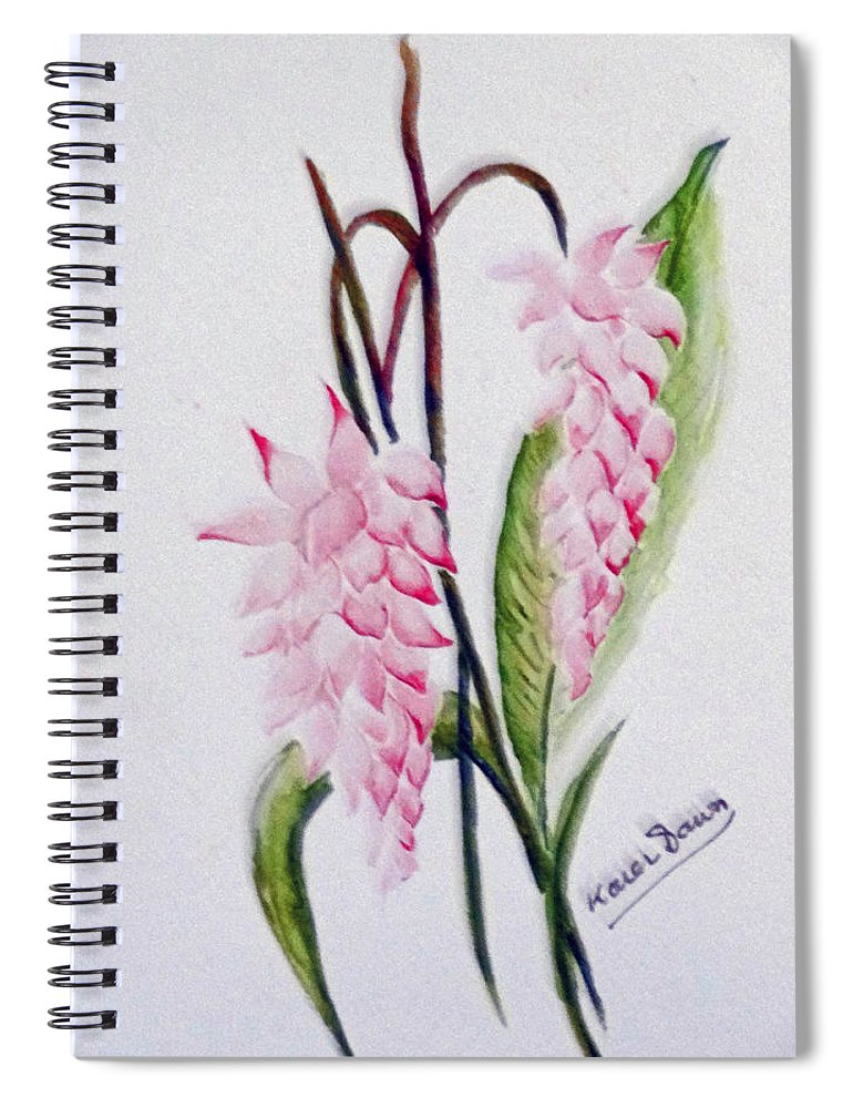Tropical Ginger Spiral Notebook featuring the painting Shell Ginger by Karin Dawn Kelshall- Best