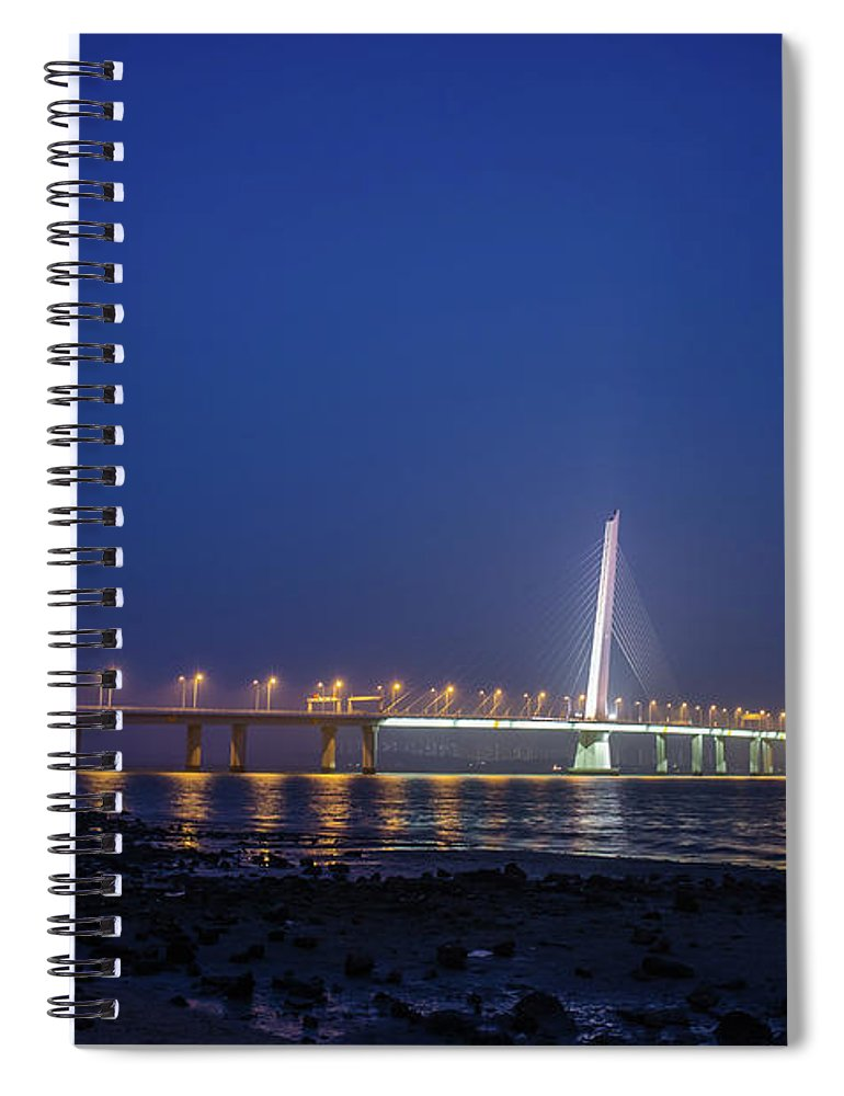 Tranquility Spiral Notebook featuring the photograph Shenzhen Bay Bridge by Jeff Chen