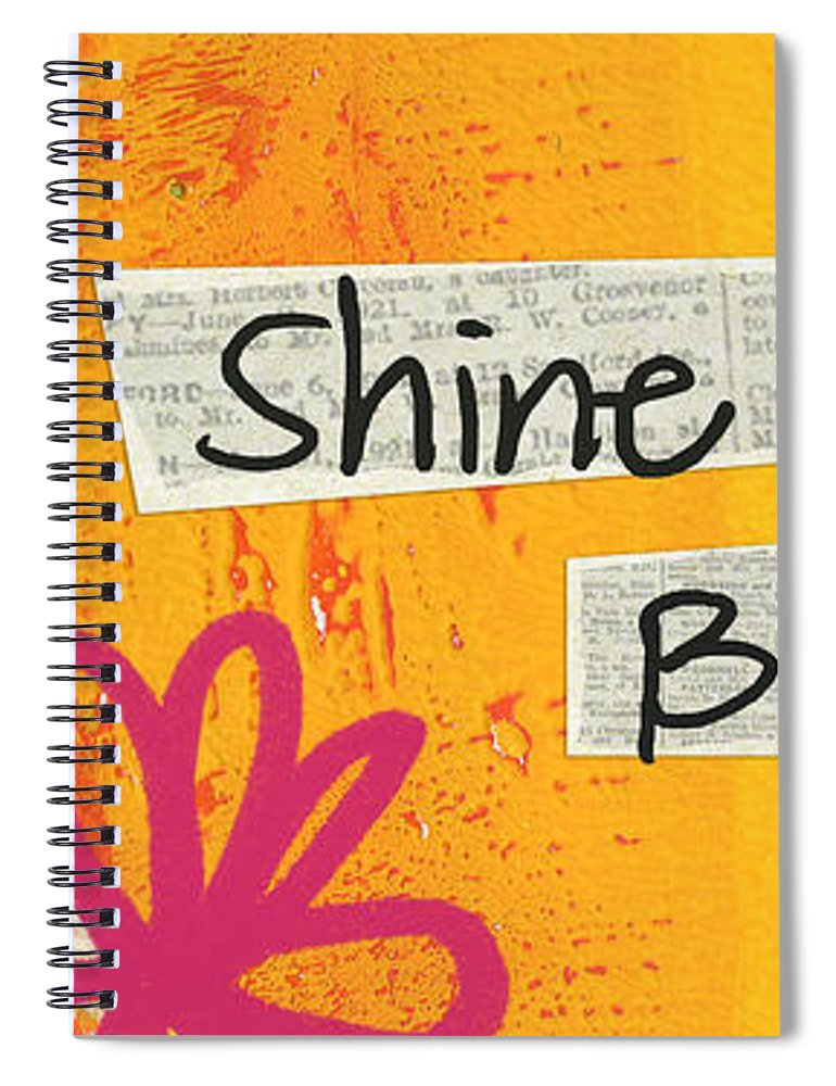 Heart Spiral Notebook featuring the painting Shine Bright by Linda Woods