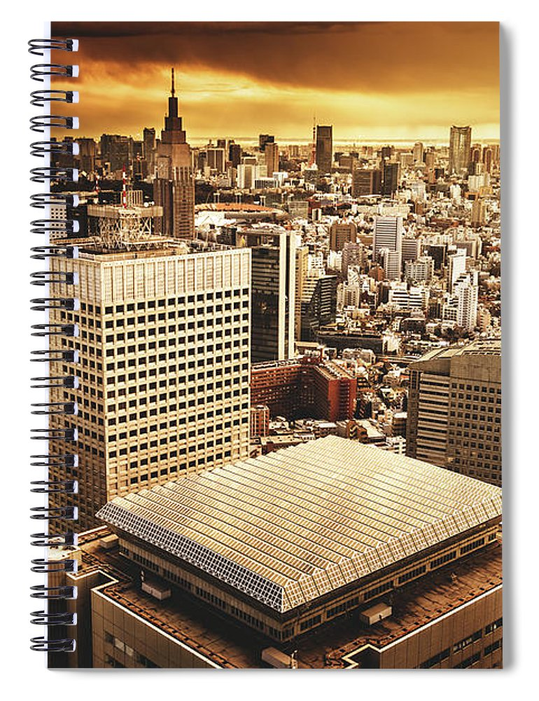 Downtown District Spiral Notebook featuring the photograph Shinjuku Business Area In Tokyo - Japan by Franckreporter