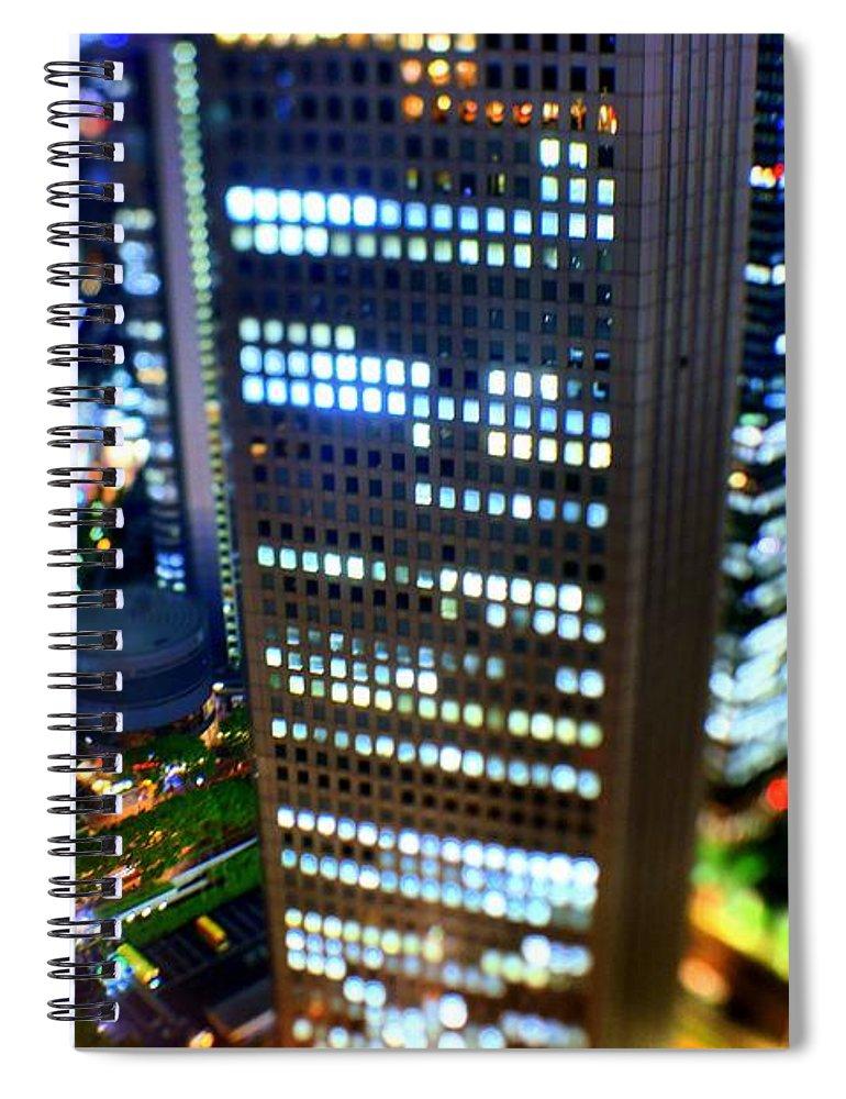 Built Structure Spiral Notebook featuring the photograph Shinjuku by Takashi Kitajima