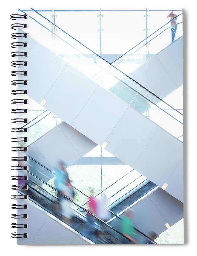 Buy Spiral Notebook featuring the photograph Shopers In Motion by Uschools