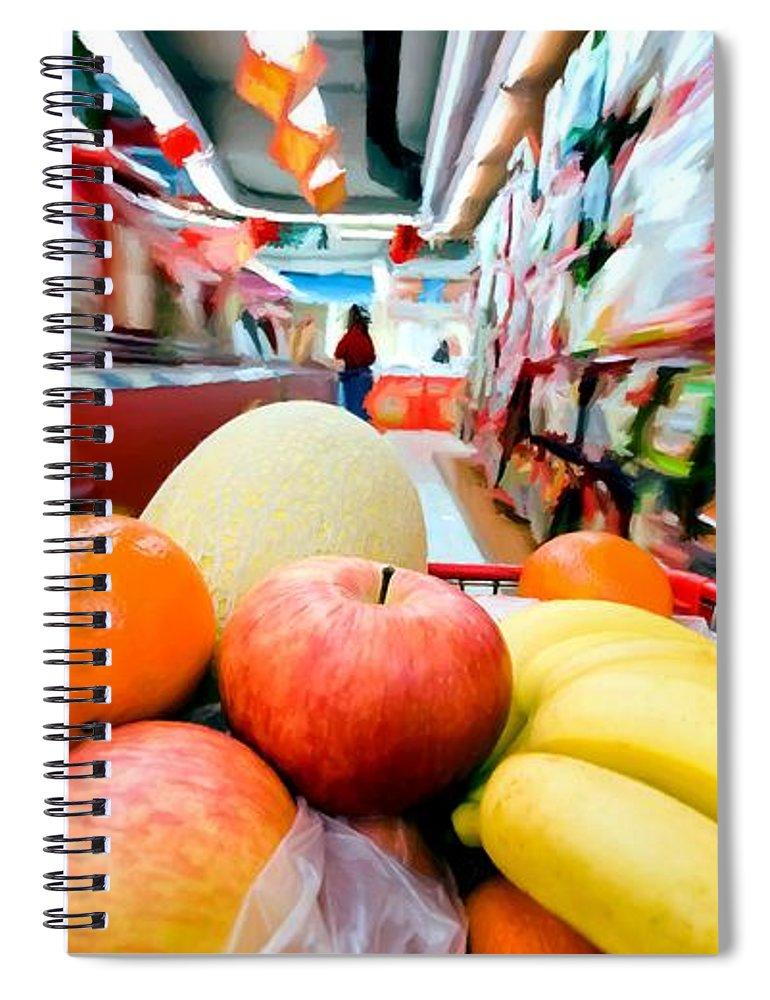 Apples Spiral Notebook featuring the digital art Shopping 1 by Gabriel T Toro