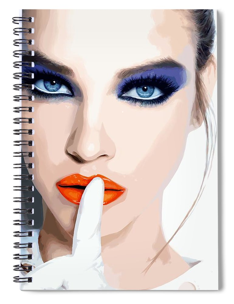 Pretty Girl Spiral Notebook featuring the digital art Silence - Pretty Faces Series by Gabriel T Toro