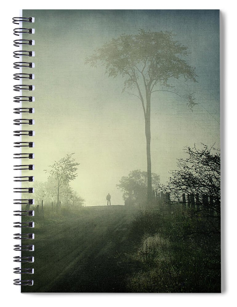 Tranquility Spiral Notebook featuring the photograph Silhouette Of A Man In Fog by Francois Dion