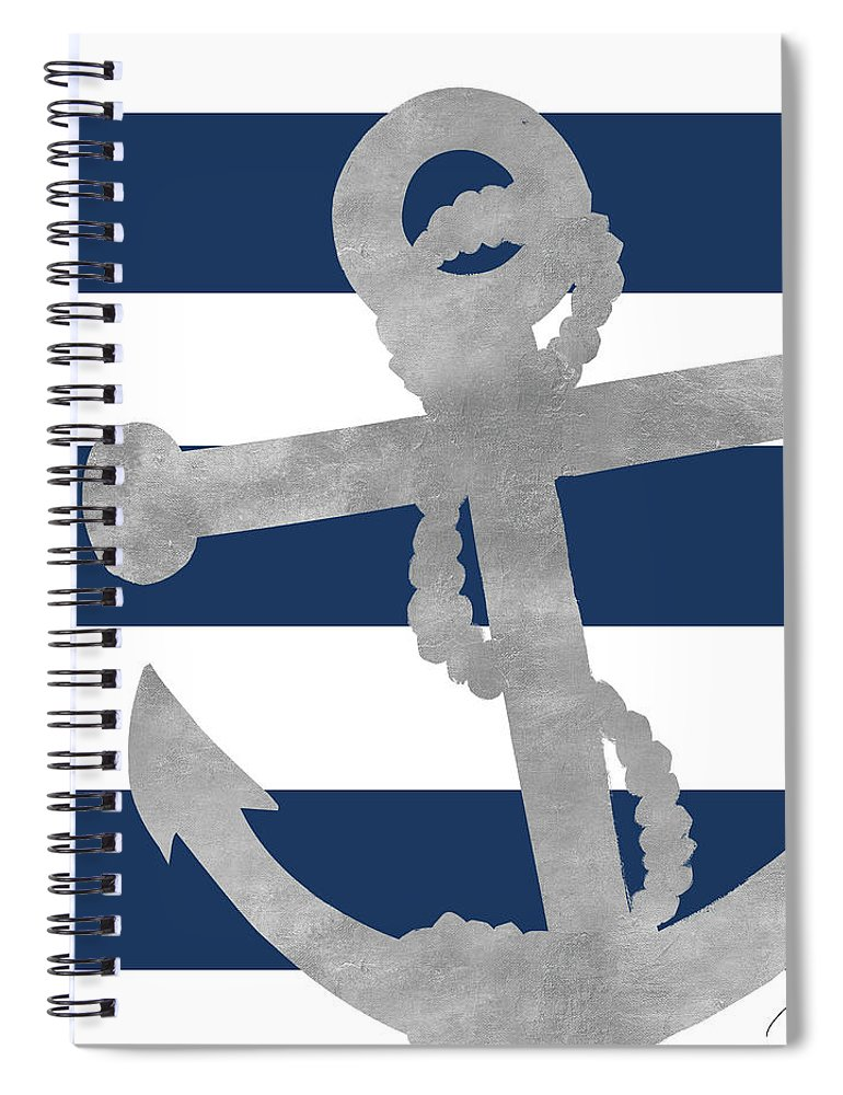 Silver Spiral Notebook featuring the mixed media Silver Coastal On Blue Stripe I by Gina Ritter