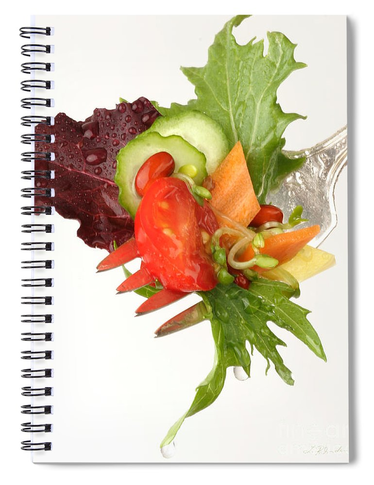 Salad Spiral Notebook featuring the photograph Silver Salad Fork by Iris Richardson