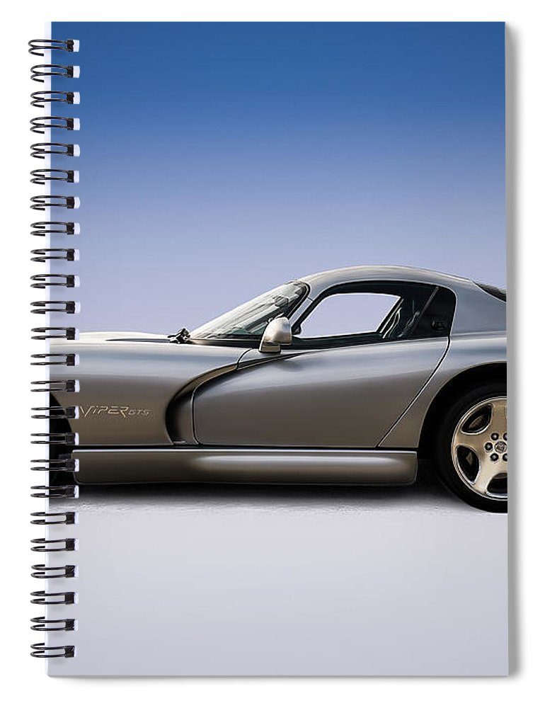 Dodge Spiral Notebook featuring the digital art Silver Viper by Douglas Pittman