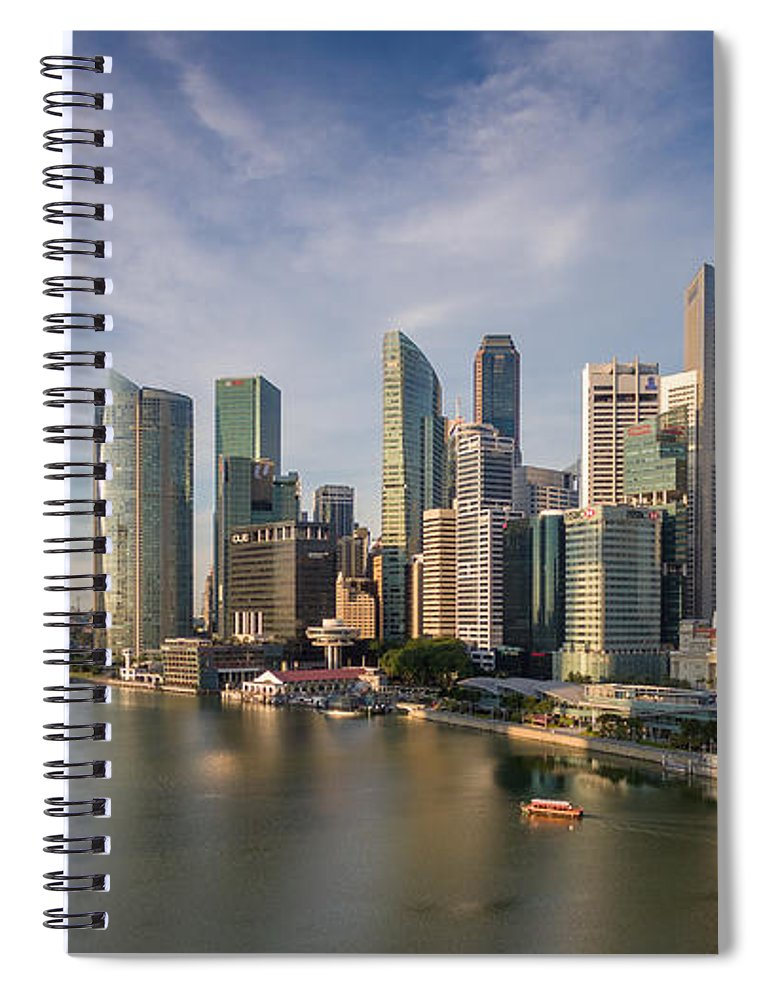 Downtown District Spiral Notebook featuring the photograph Singapore Skyline by Edward Tian