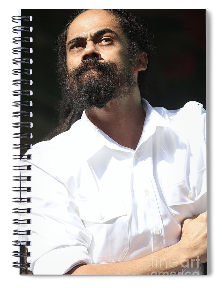 Singer Spiral Notebook featuring the photograph Damian Marley by Concert Photos