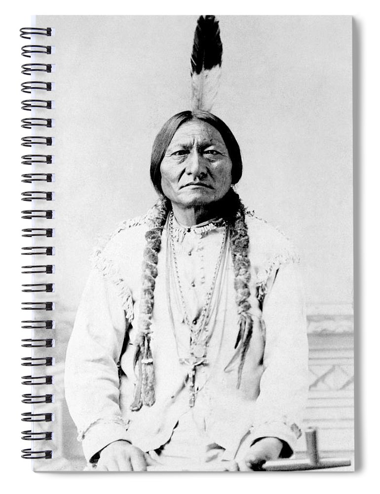 Native American Spiral Notebook featuring the photograph Sioux Chief Sitting Bull by War Is Hell Store